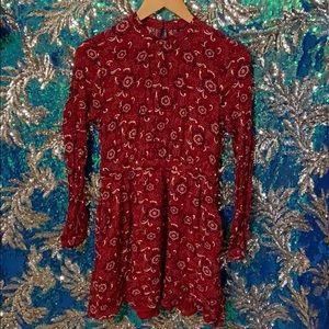 Forever 21 Long Sleeve Red Boho Dress